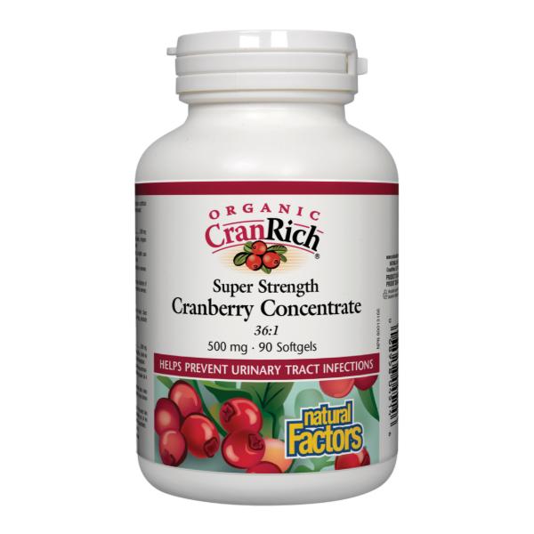 Natural Factors Organic Cranberry Concentrate 500mg 90softgels Super Strength