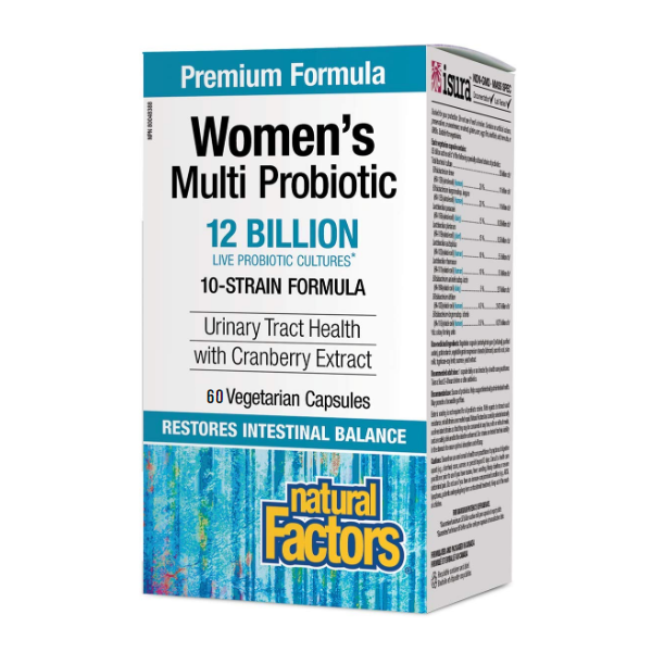 Natural Factors Women's Multi Probiotic 12 Billion 10-Strain Formula with Cranberry Extract