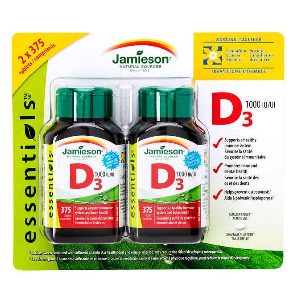 Jamieson Vitamin D3 1000IU 375 tablets x 2 PACK