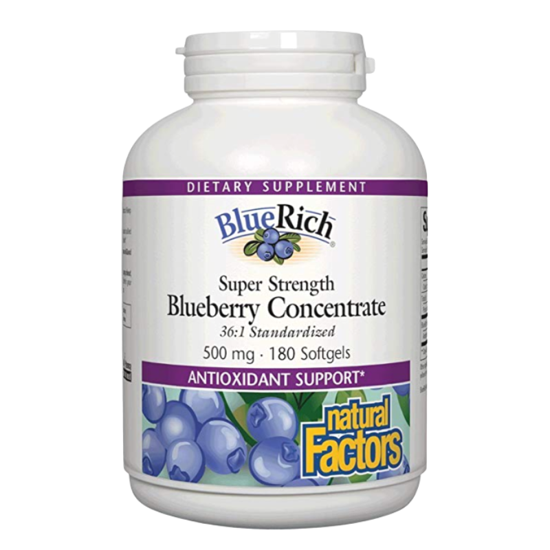 Natural Factors BlueRich Super Strength Blueberry Concentrate 500 mg - 180 Softgels