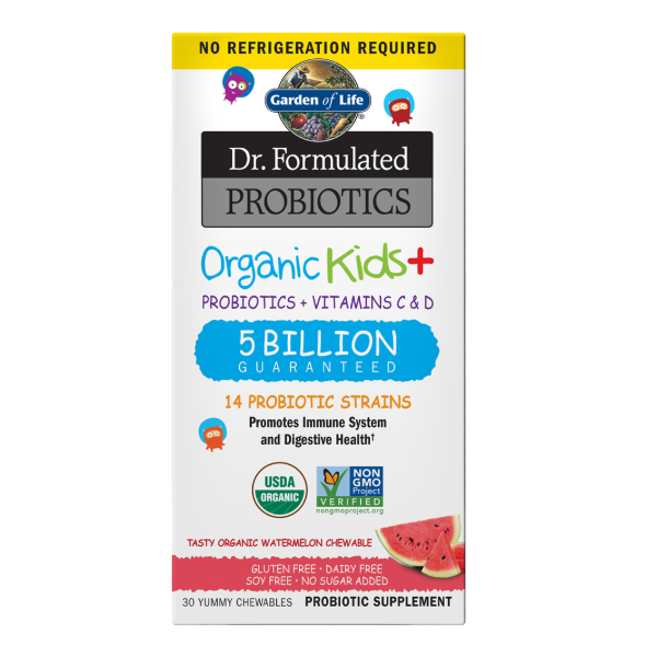 Garden of Life Dr. Formulated Probiotics Organic Kids+ 5 Billion CFU Shelf-Stable (Watermelon) - 30 Chewable Tablets