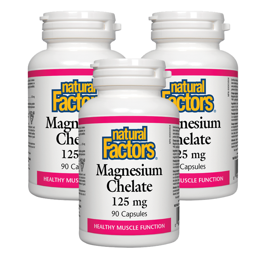 Natural Factors Magnesium Chelate 125 mg - 90 Capsules 3PACK