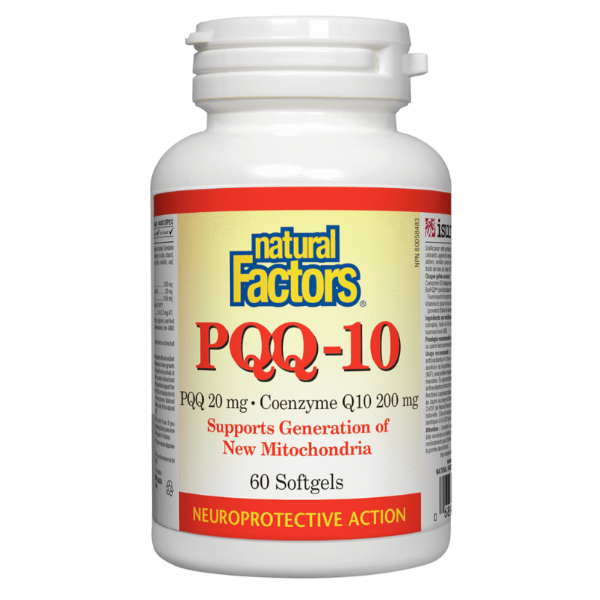 Natural Factors PQQ-10 PQQ 20mg Coenzyme Q10 200mg 60 Softgels
