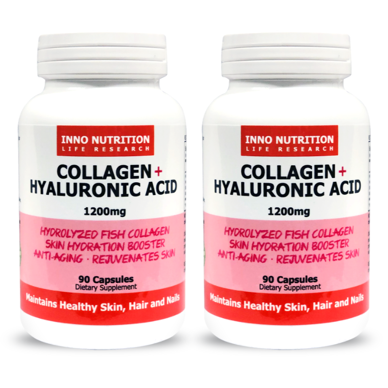 INNO NUTRITION Collagen + Hyaluronic Acid 1200mg 90 Caps 2PACK