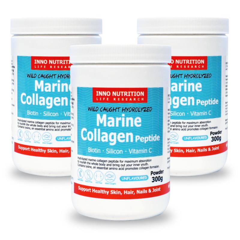INNO NUTRITION Marine Collagen Peptide Biotin Silicon VitaminC Powder 300g 3PACK