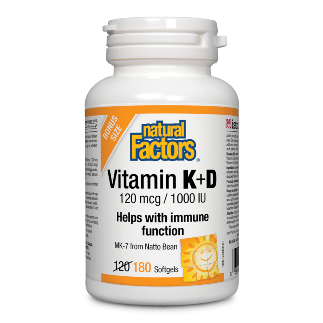 Natural Factors Vitamin K & D 120 mcg 1000 IU 180 Softgels MK-7