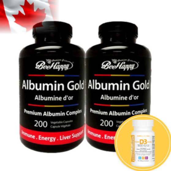 Bee Happy Albumin Gold - 200 Capsules 2PACK