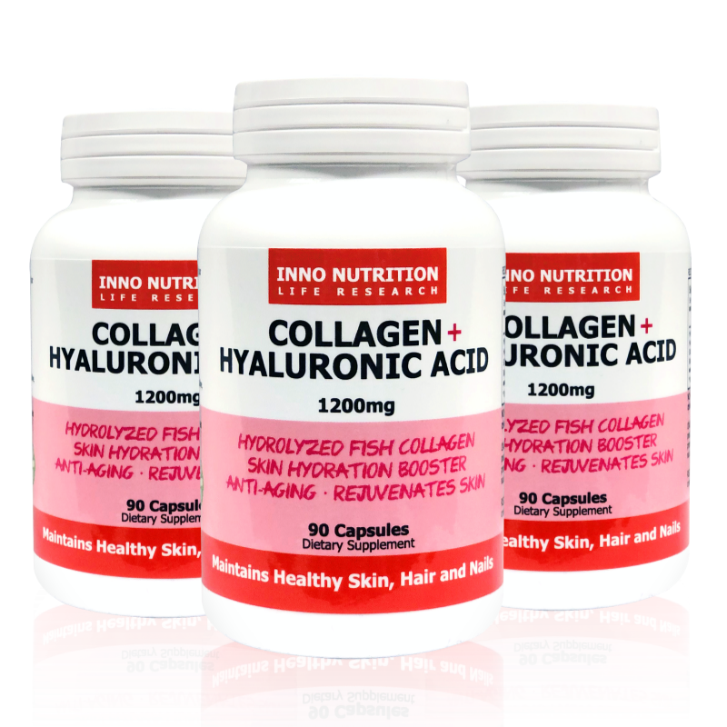 INNO NUTRITION Collagen + Hyaluronic Acid 1200 mg 90 Caps 3PACK