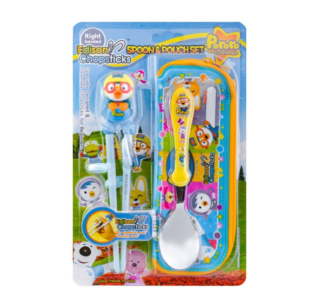 Edison Pororo Training Chopsticks & Spoon Set With Case (Right Handed)