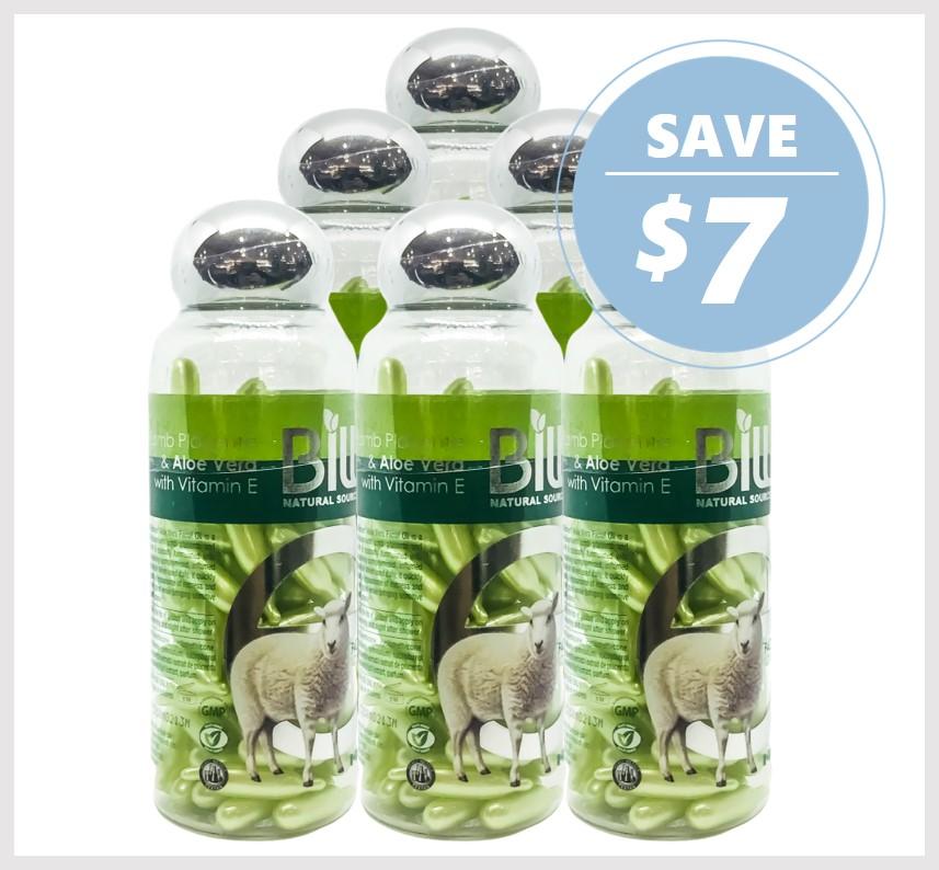 Bill Natural Lamb Placenta & Aloe Vera with Vitamin E 100 Caps (6ACK)