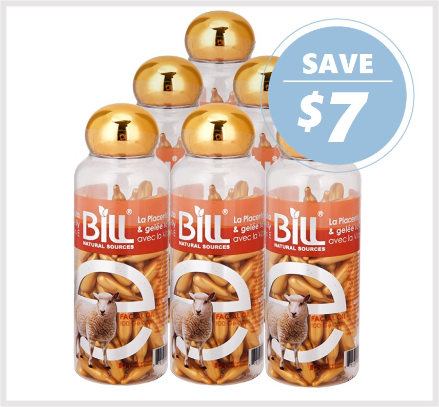 Bill Natural Lamb Placenta & Royal Jelly with Vitamin E 100 Caps (6Pack)