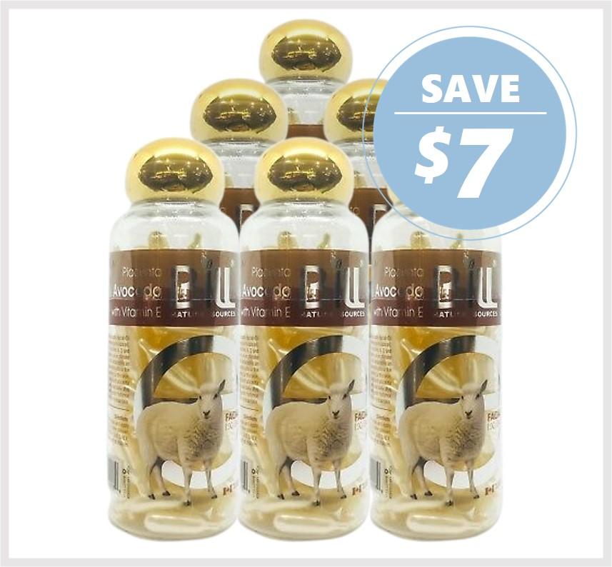 Bill Natural Lamb Placenta & Avocado with Vitamin E 100 Caps (6PACK)