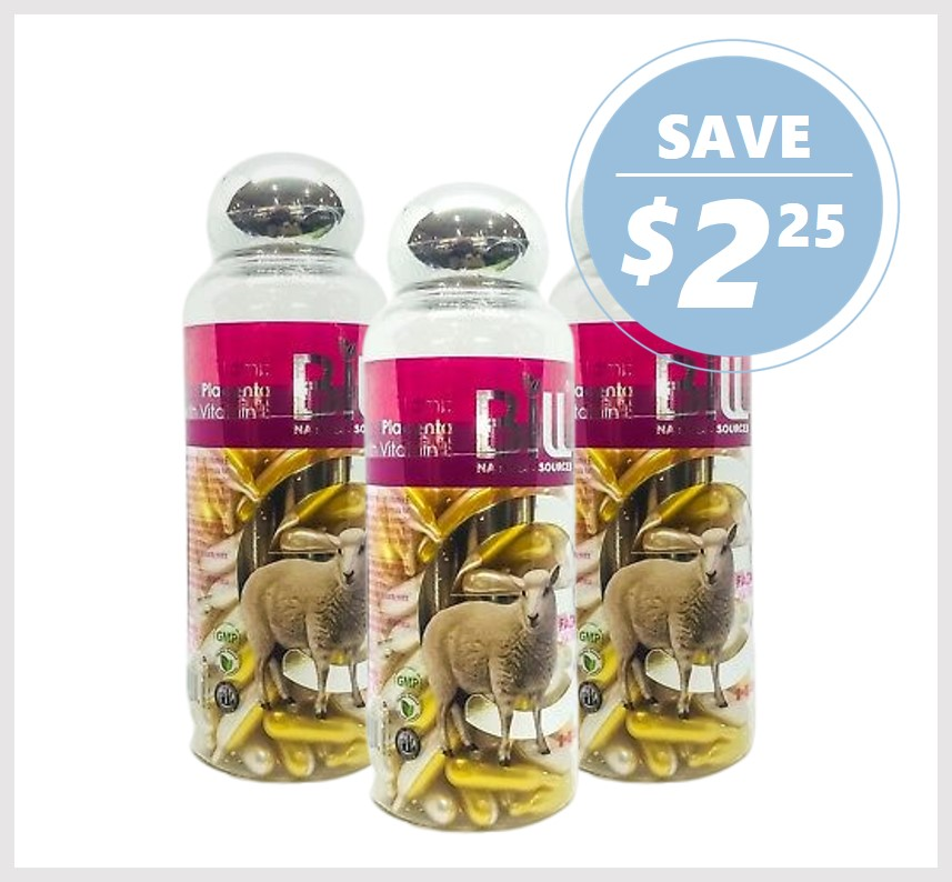 Bill Natural Lamb Placenta & Vitamin E 100 Caps (3PACK)