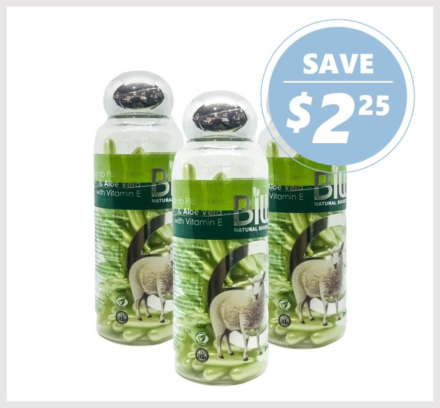 Bill Natural Lamb Placenta & Aloe Vera with Vitamin E 100 Caps (3ACK)