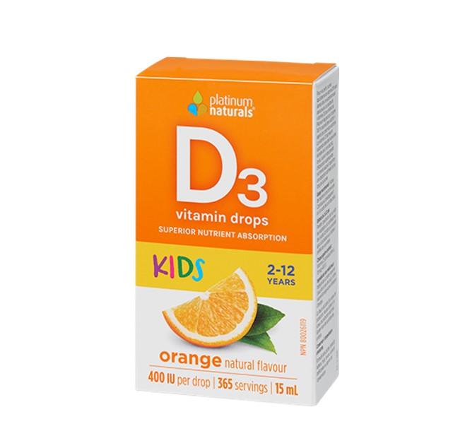 Platinum Vitamin D3 Drops 400 IU 15ml Orange Flavour for kids