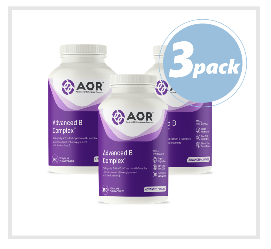 AOR Advanced B Complex (Vitamin B) 602mg 180 Veggie Capsules (3 PACK)