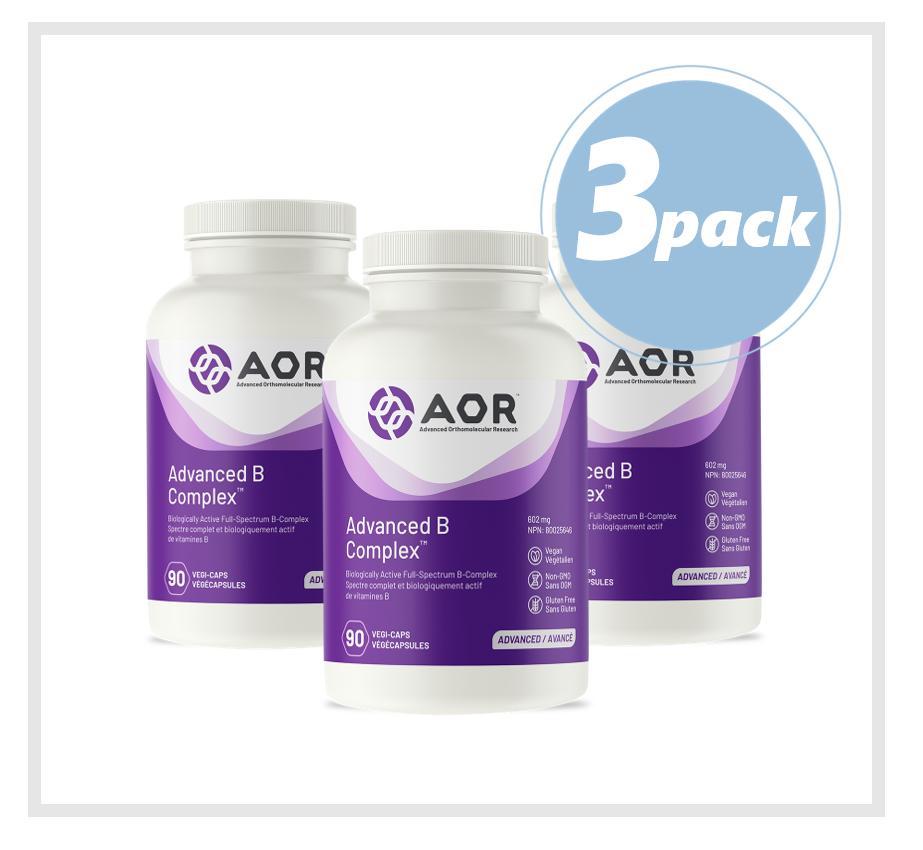 AOR Advanced B Complex (Vitamin B) 602mg 90 Veggie Capsules (3 PACK)