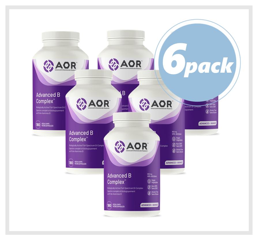 AOR Advanced B Complex (Vitamin B) 602mg 180 Veggie Capsules (6 PACK)