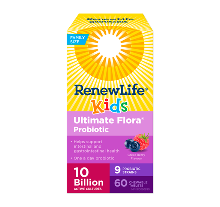 Renew Life Ultimate Flora® Kids Probiotic 10 Billion Active Cultures 60 Chewable Tablets