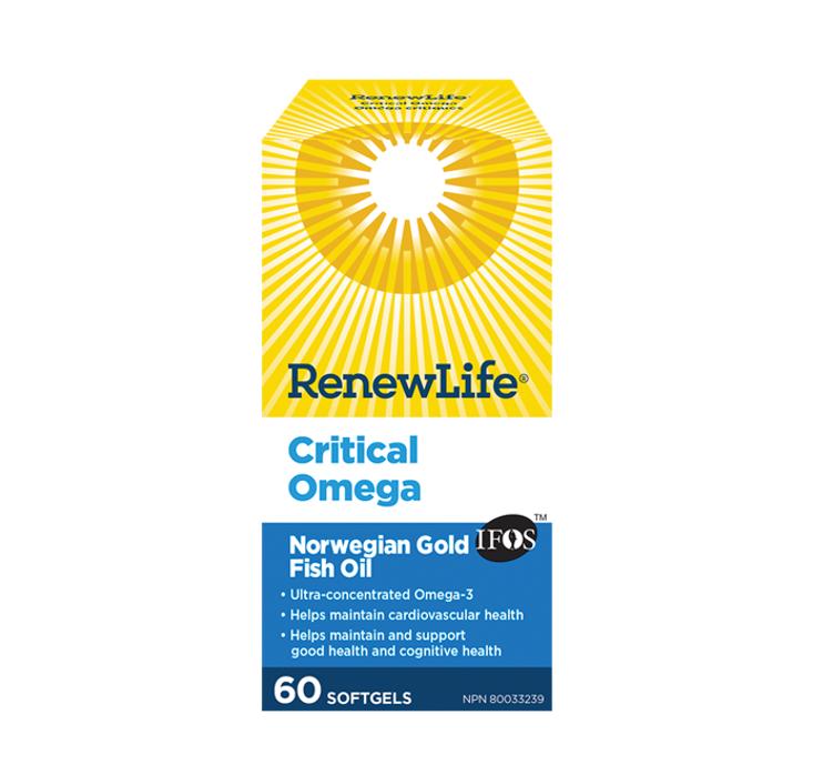 Renew Life ® Critical Omega Norwegian Gold, Fish Oil and Omega 3's 60 Softgels