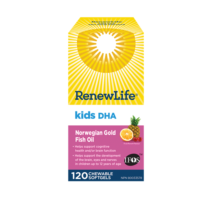 Renew Life ® Kids DHA Norwegian Gold, Fish Oil, Daily Vitamin and Omega 3's 120 Chewable Softgels