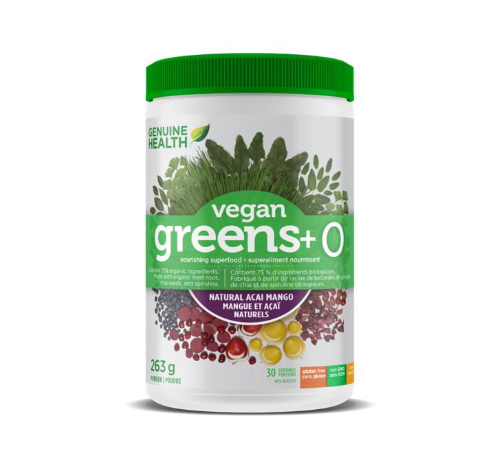 Genuine Health Vegan Greens + O Natural Acai Mango Powder 263g