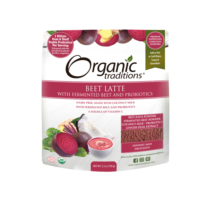 Organic Traditions Organic Beet Latte with Fermented Beets and Probiotics 150g