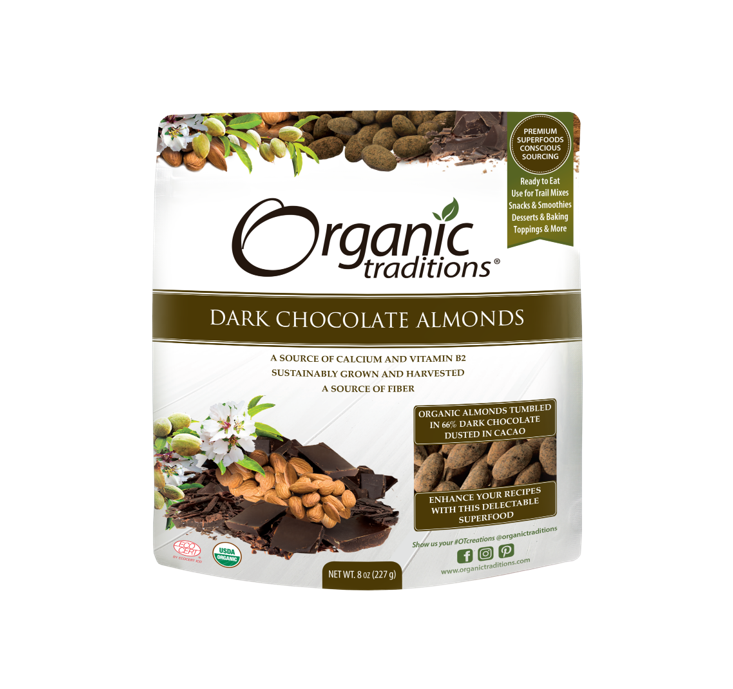 Organic Traditions Organic Dark Chocolate Covered Almonds 227g