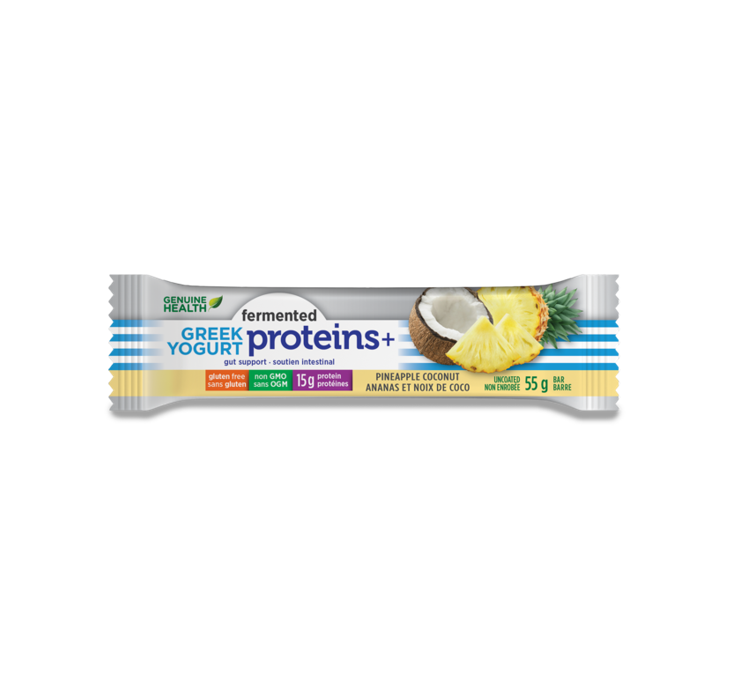 Genuine Health Fermented Greek Yogurt Proteins + Pineapple Coconut Bars 55g *12