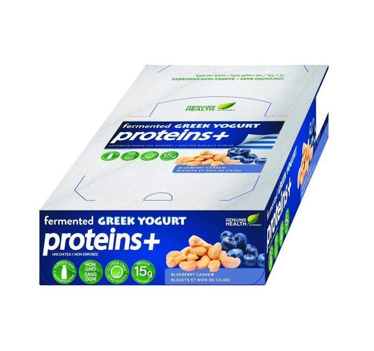 Genuine Health Fermented Greek Yogurt Proteins + Blueberry Cashew Bars 55g *12