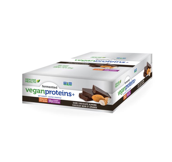 Genuine Health Fermented Vegan Proteins + Dark Chocolate Almond Bars 55g *12