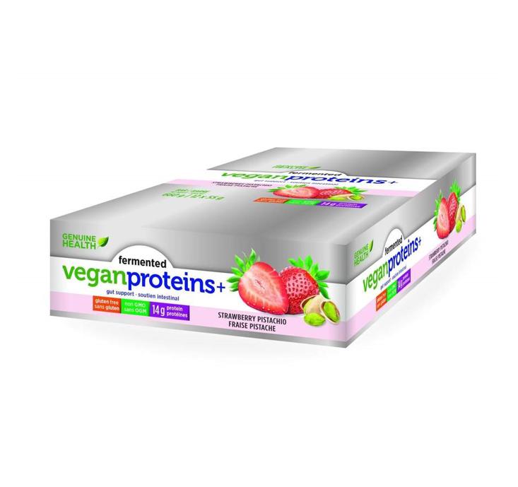 Genuine Health Fermented Vegan Proteins + Strawberry Pistachio Bars 55g *12 (Exp Nov 2021)