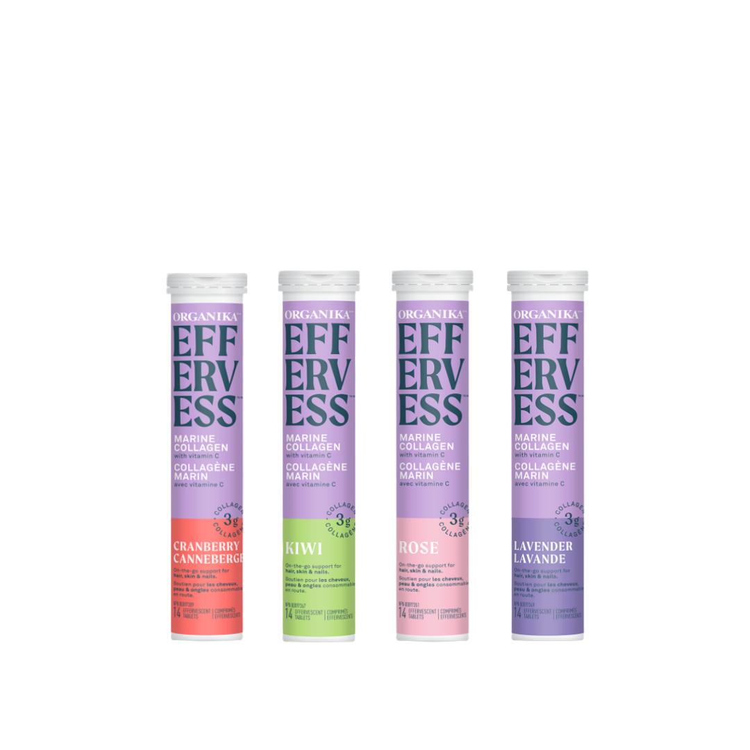 Organika Effervess - marine collagen and vitamin C effervescent (14 tablets) - Cranberry, Kiwi, Rose, Lavender 4 pack